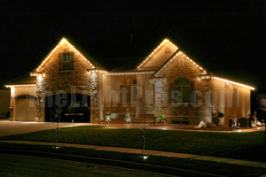 Christmas Lights on a one story home