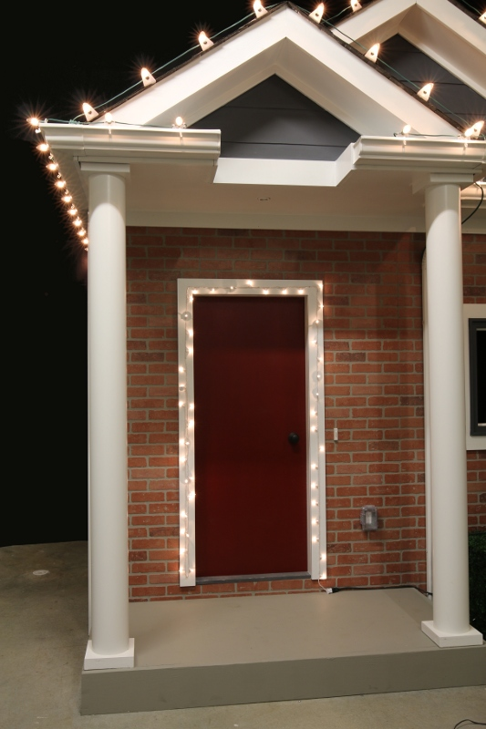 Front Door Outlined in Mini Lights