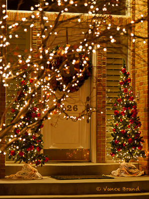 christmas display lights decorate this entranceway