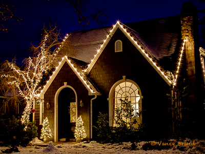 House With Christmas Lights.Professional Christmas Light Installations Are Raising The